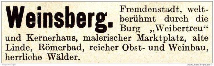 Original-Werbung / Anzeige 1913 - WEINSBERG - ca. 60 x 20 mm