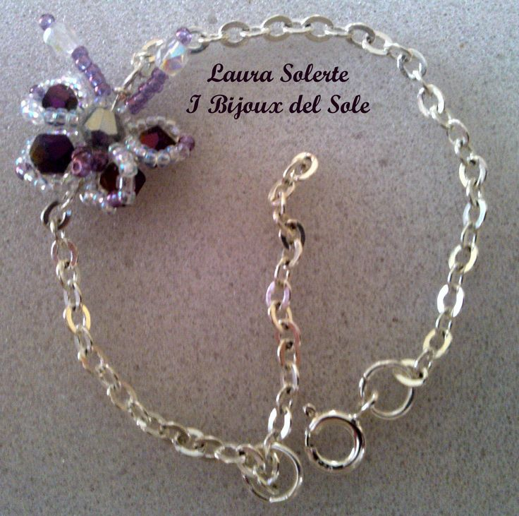 Little butterfly Chiara bracelet. Swarowski crystals and silver 925. Venduto-Sold. Disponibile su ordinazione - Available on request