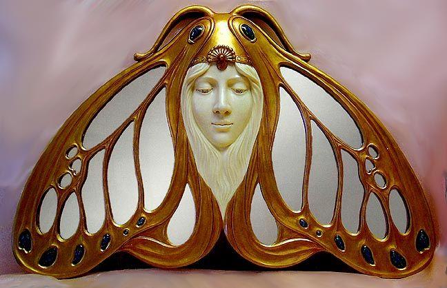 The Art Nouveau Blog: Art Nouveau Mirrors: Art Decoart, Inspiration, New Butterflies, New Blog, Nouveau Mirrors, Decoart New, Artnouveau, Butterflies Mirror, Moth Mirror