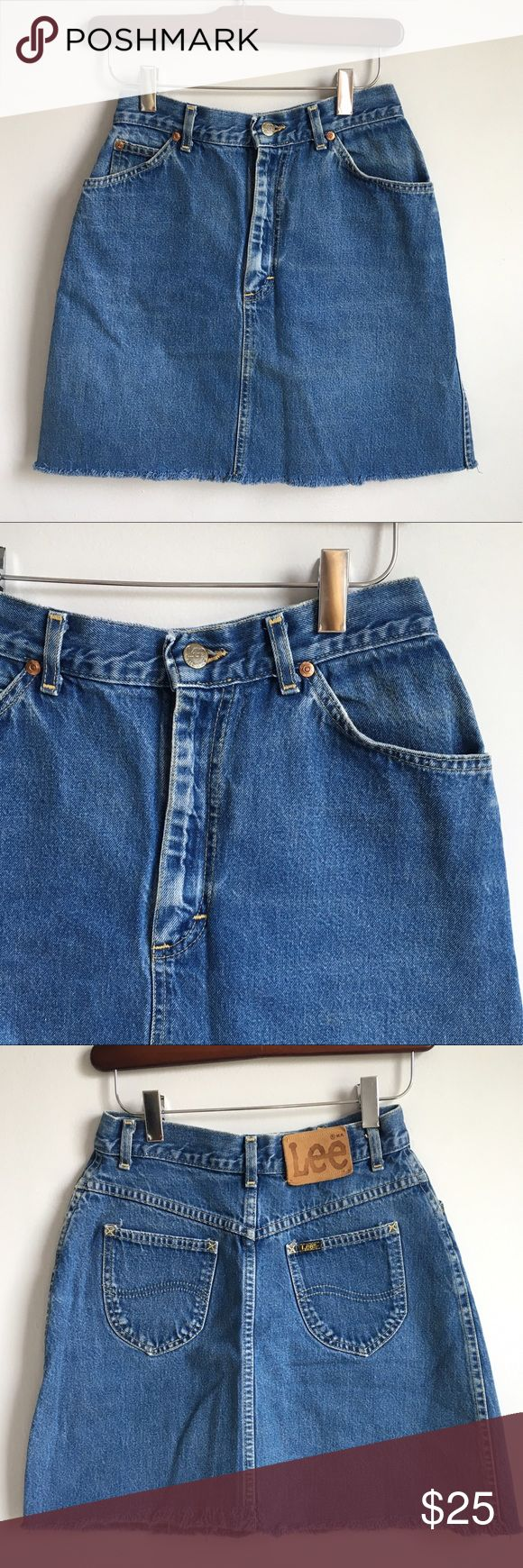 vintage 80s lee jean skirt mini denim skirt vintage 80s lee jeans skirt in a medium wash denim with a frayed raw hem. mini length & slight a-line fit. measures 13 inches across waist laying flat (26 inches doubled) and 18 total length. in good vintage condition, no stains, just gently worn. no try ons or trades. Vintage Skirts Mini