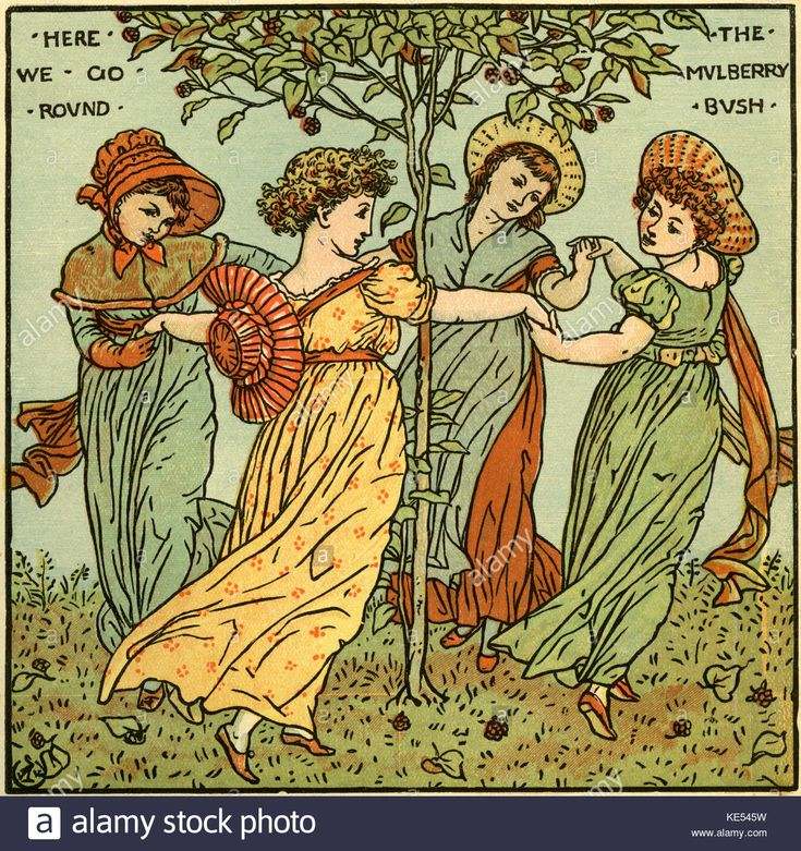 The mulberry bush, nursery rhyme illustration (1877) by Walter Crane. English artist of Arts and Crafts movement, 15 August  1845 - 14 March 1915 Stock Photo