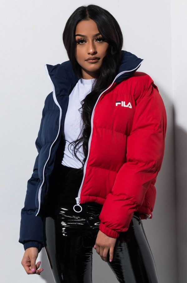 look out for authentic quality how to buy FILA MARTINA SNAP OFF SLEEVE CROP PUFFER | Jacket outfit women ...