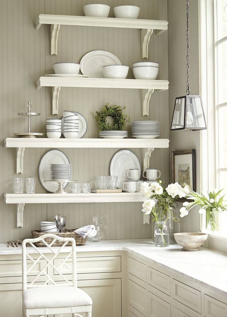 Elegant White Stained Wooden 4 Tier Floating Kitchen Shelves With White Polished  Steel Bracket Above L Shaped Images
