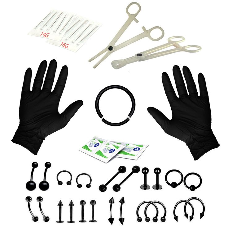 BodyJ4You® Body Piercing Kit Belly Rings Black Tongue Tragus Eyebrow Nipple Lip Nose 36 Pieces