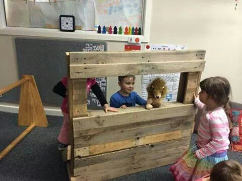 Simple pallet puppet theatre