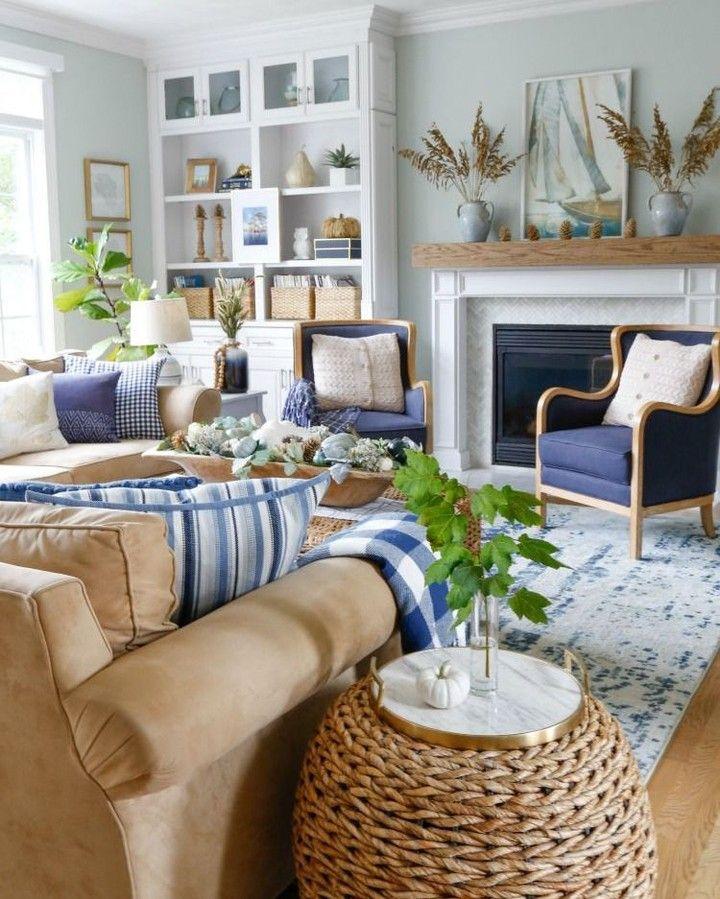 Benjamin Moore Sea Salt Coastal Decorating Living Room Living Room Design Decor Farm House Living Room #pale #blue #living #room