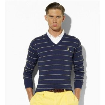 Men\u0027s Polo Ralph Lauren Stripe V-Neck Sweater in Navy Sale
