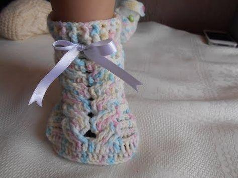 como hacer zapatos a crochet para bebe - YouTube