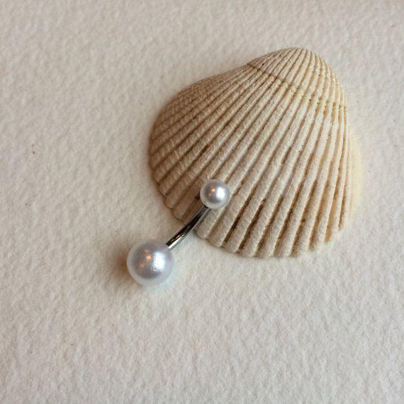 pearl belly ring pearl belly button ring pearl by PrettyBabyBridal