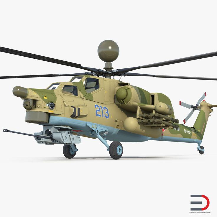 Attack Helicopter MI-28N Havoc with Radar Station 3D model