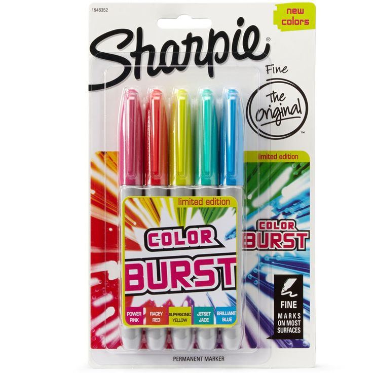 Sharpie Color Burst 5pk. Permanent marker which marks on most surfaces. Limited edition. New colours. Colours included: Pink, Red, Yellow, Jade, Blue.