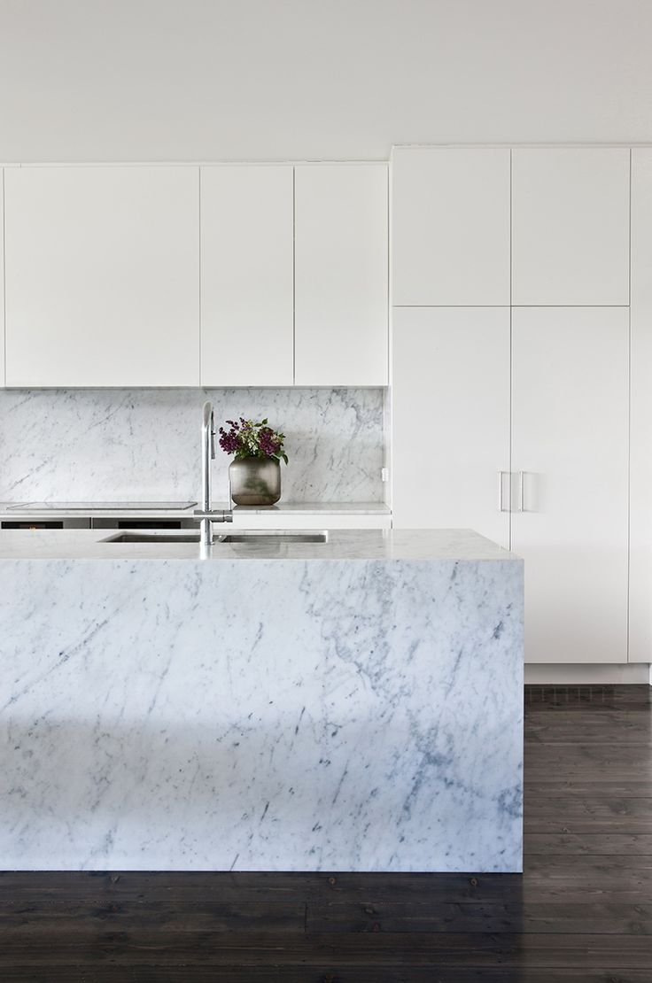 Kitchen layout. Hawthorn House by Fiona Lynch. Clean lines - calacatta marble, antique white joinery