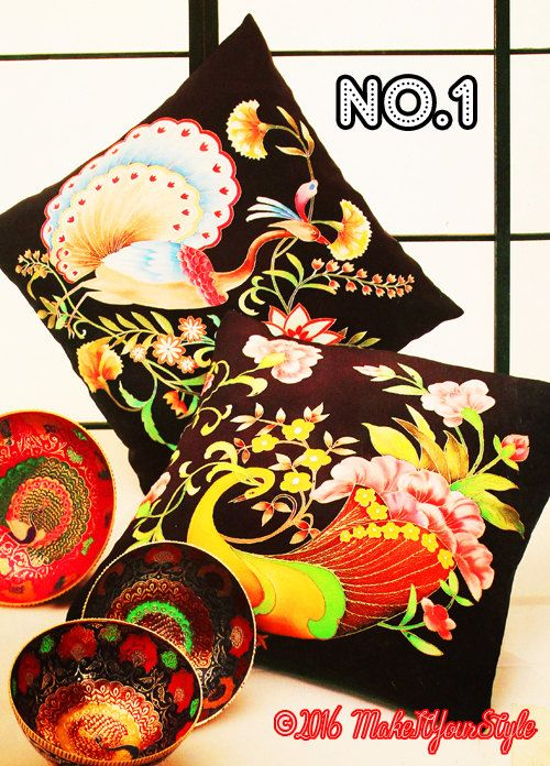 Peacock-Rooster-Phoenix-birds-animals Hand painted silk decorative Pillow case/cushion case - pinned by pin4etsy.com