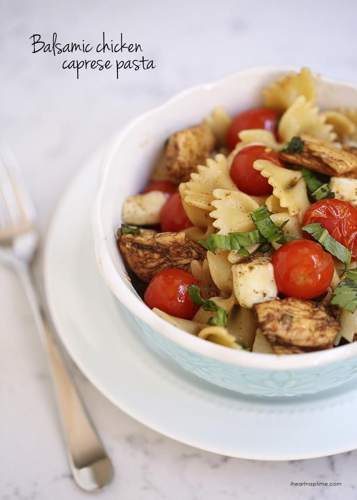 Balsamic chicken caprese pasta topped with fresh mozzarella and basil -make this recipe in 30 minutes or less!