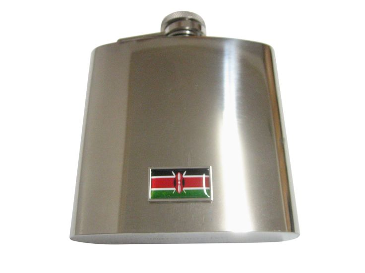 Thin Bordered Kenya Flag Pendant 6 Oz. Stainless Steel Flask