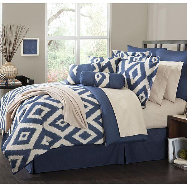 16 piece comforter set durham navy blue soutwest ensemble bedroom kingqueen