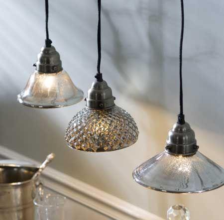 Mercury Glass Pendant Lamps $50