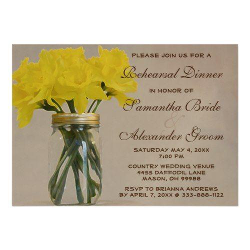 Spring Wedding Rehearsal Dinner Mason Jar Daffodil Country Rehearsal Dinner Magnetic Card