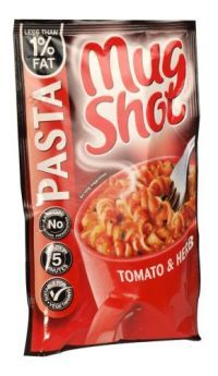 £0.49    The pasta snack you make in a mug Pasta spirals in a tomato and herb sauce. Make up instructions:   -    Empty sachet into a standard size mug  -    Fill to 15mm from brim with boiling water  -    Stir thoroughly   -    Allow to stand for 5 minutes  -    Top up if a thinner sauce is required   -    Stir thoroughly again