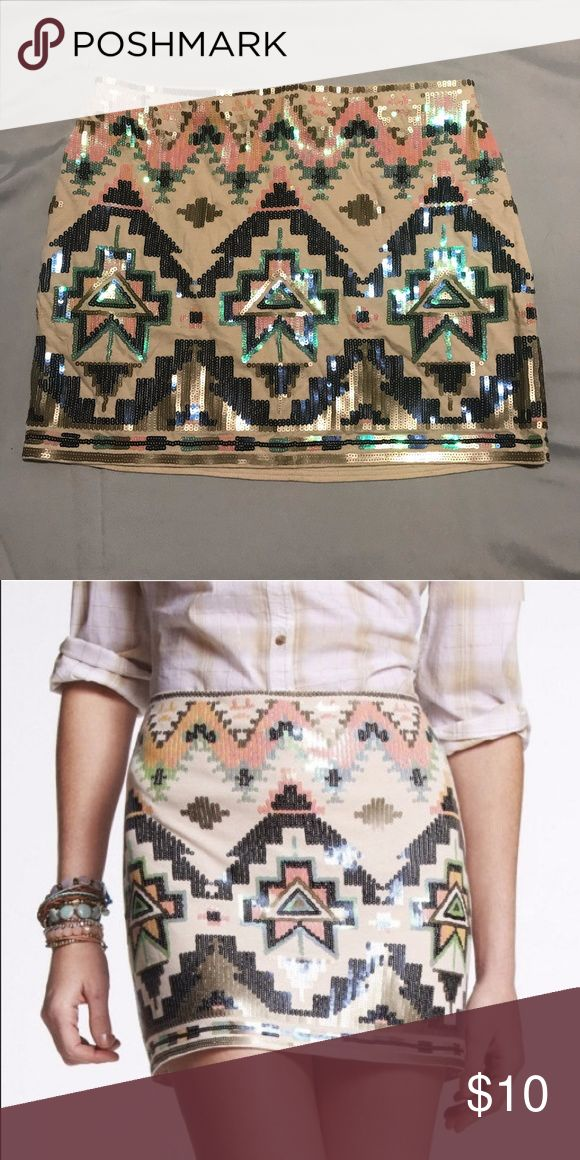 Express Aztec Sequin Skirt Great condition, no signs of wear. Size XS. Express Skirts Mini