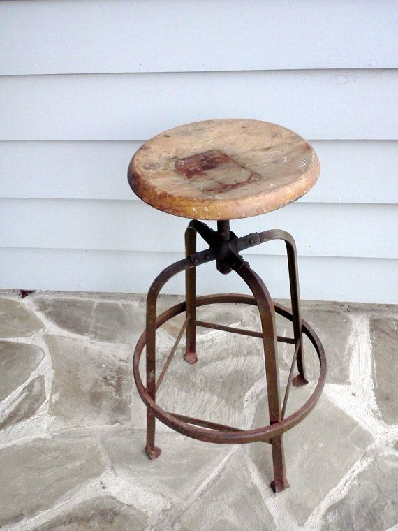Industrial Stool Rustic Metal With Oak Seat From Angle