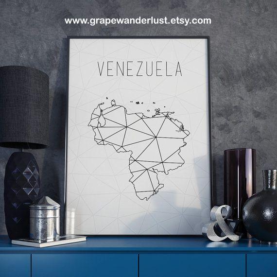 Venezuela mapa Venezuela Venezuela lámina por GrapeWanderlust