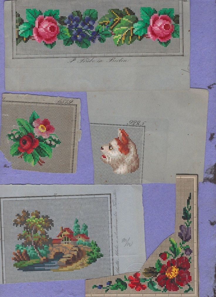 19c berlin wool work original handpainted TRUBE flowers, border, dog,scenery 5pc | eBay