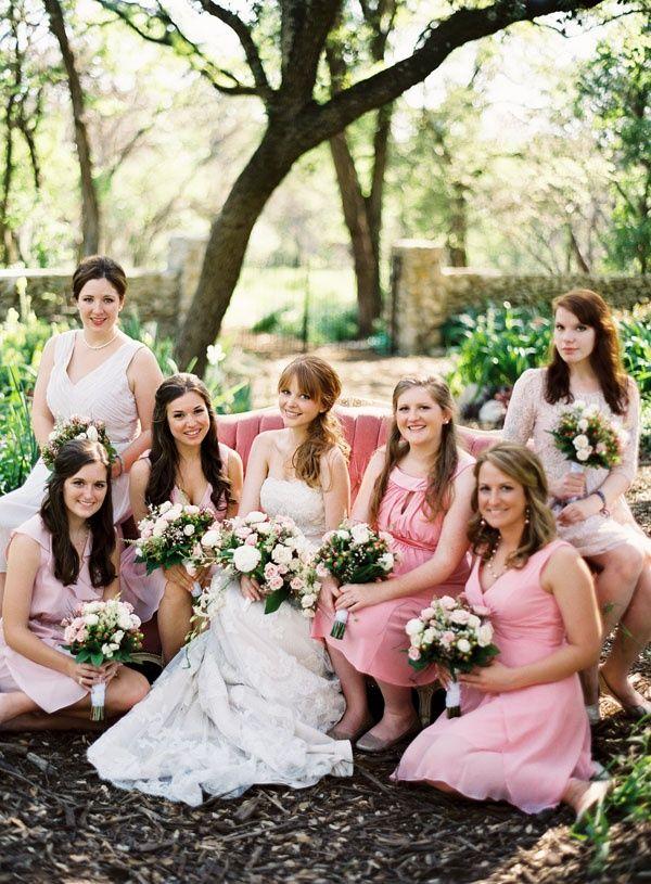 Found on WeddingMeYou.com - Mismatched Bridesmaid Dresses – Pretty in Pink