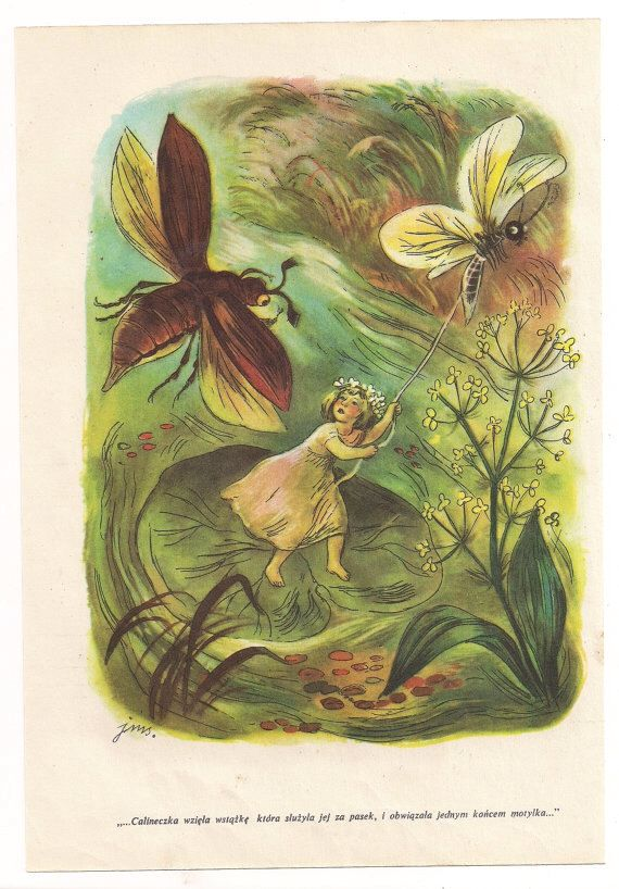 Vintage Book Illustration Thumbelina