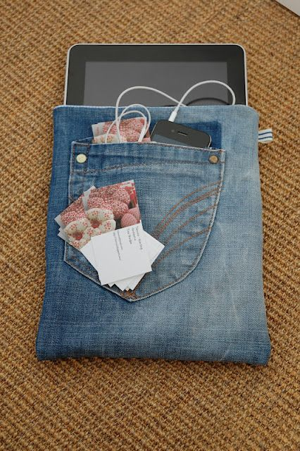 Denim ipad bag