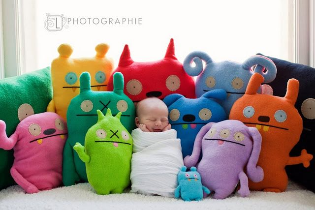 love the monster dolls! and of course, cute pic!