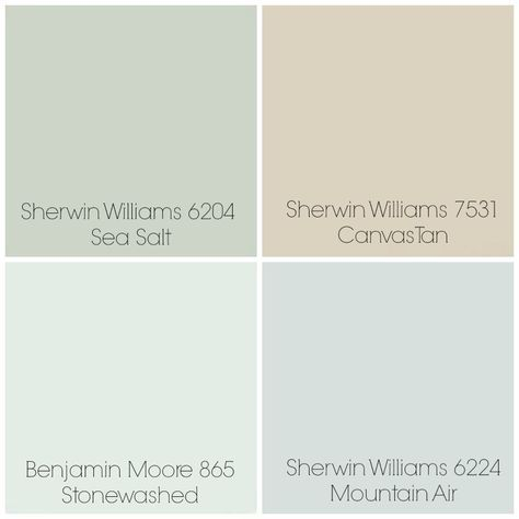 """Finalized the paint colors for our home: Sea Salt - Entry / Dining Room. Canvas Tan - Living Room. Stonewashed - Playroom & Kitchen (possibly). Mountain Air - Master Bedroom. All rooms with white trim. One other possibility in place of Stonewashed is Sherwin Williams 6203 """"Spare White"""" (not pictured)."""