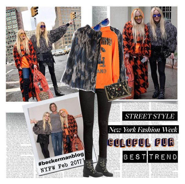 Best NYFW Stret Style Colourful Fur by stylepersonal on Polyvore featuring polyvore, fashion, style, Moschino, Diane Von Furstenberg, H&M, ALDO, Frency & Mercury, clothing and NYFW