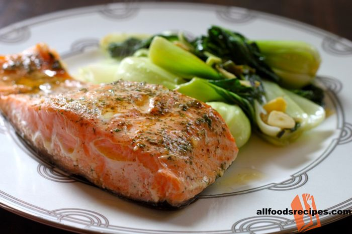 Baked Salmon – It's a light baked salmon recipe brushed with lemon garlic mixture which makes the salmon flaky and tender.    RECIPE : http://www.allfoodsrecipes.com/recipe/baked-salmon/