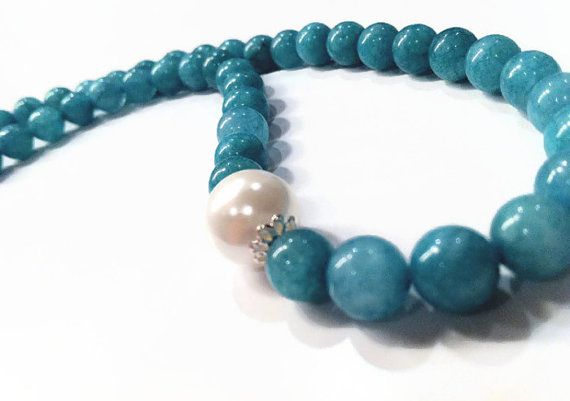 """Blue Amazonite Necklace - """"Ocean's Gift"""" Necklace, Semi Precious Stone Jewelry by PerfectionPetals, $32.00"""