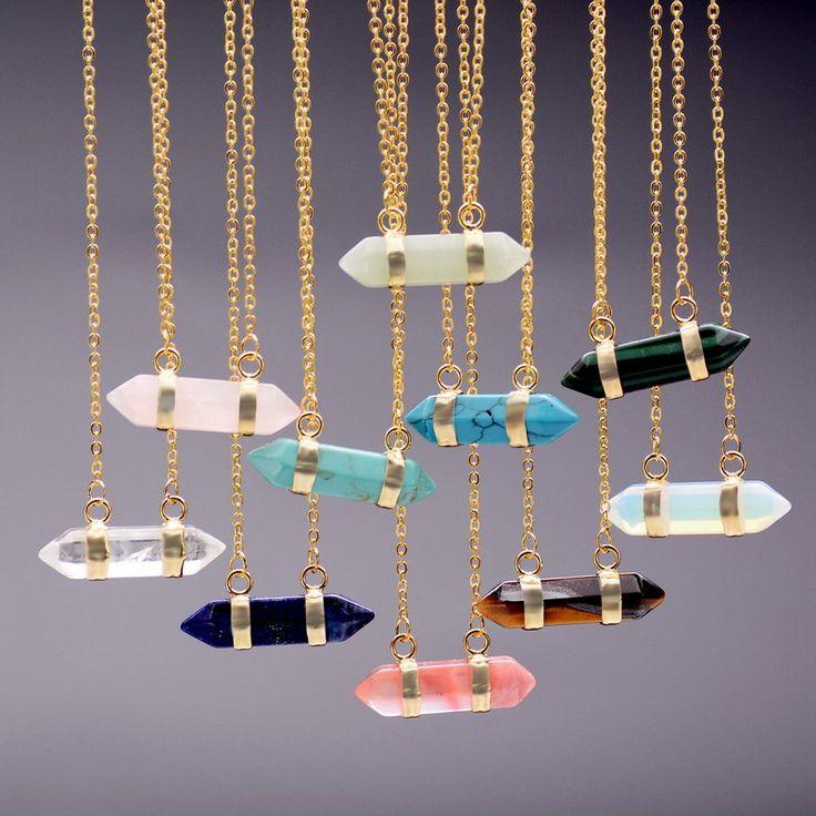 Многоцветный Модные Пуля Форма Природный Аметист Бирюзовый Камень Кристалл Кварца Кулон Ожерелье Для Женщин