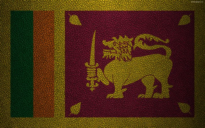 Download wallpapers Flag of Sri Lanka, 4K, leather texture, Sri Lanka flag, Asia, world flags, Sri Lanka