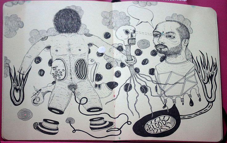 Libreta Dibujos 9, Artista: Ricardo Muñoz Izquierdo, Libreta Dibujos 9, dibujos en hoja de libreta, 16x16 cm, + PA.