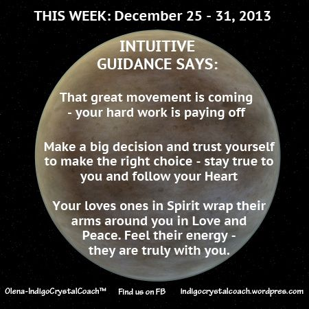 INTUITIVE GUIDANCE READING for Week of December 25 - 31 http://www.facebook.com/IndigoCrystalCoach