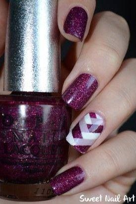 nails #uñas #morado #glitter #brillos