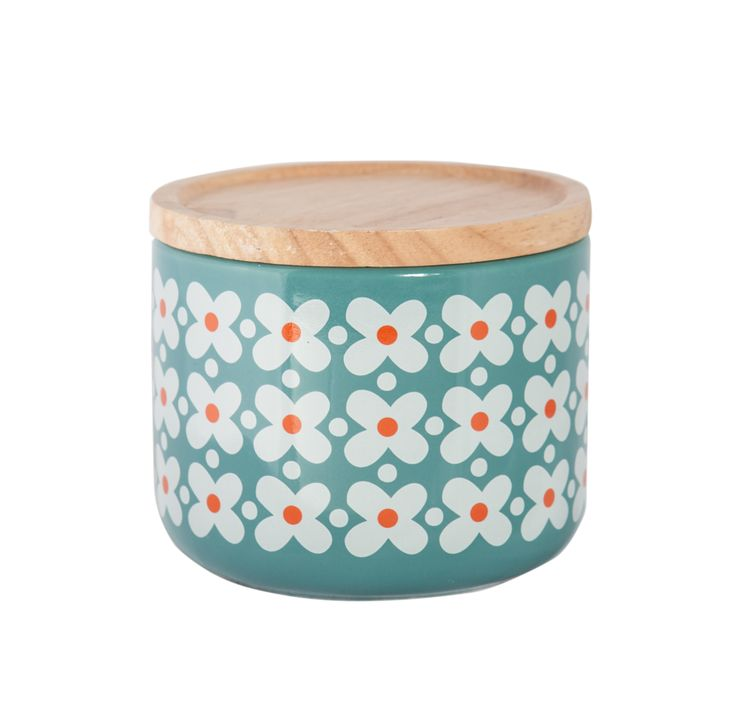 General Eclectic Kitchen Storage- Small Canisters- Blue Flower. Funkiness meets functionality in your kitchen storage with these gorgeous small canisters with wooden lids from General Eclectic.