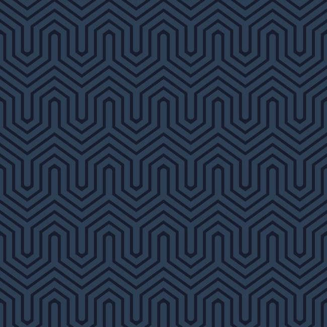 Labyrinth Wallpaper in Navy design by York Wallcoverings