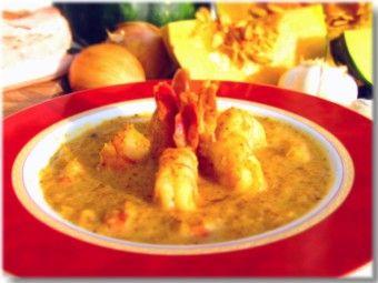 Pumpkin soup with shrimp