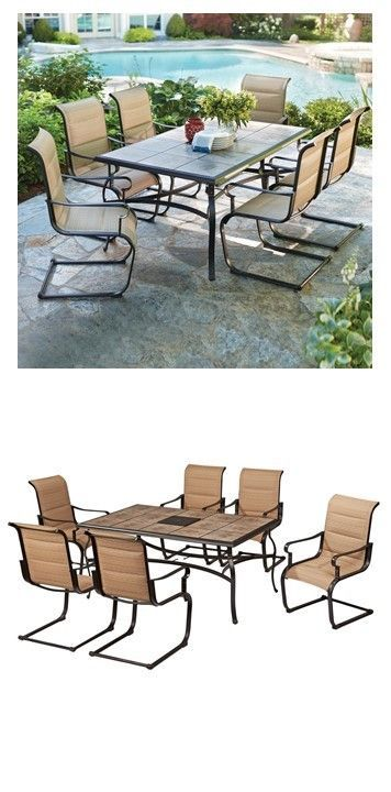 sling motion patio chairs stadium at academy 7 piece padded outdoor dining set home depot back yard decor practical seat summer p patios porches living