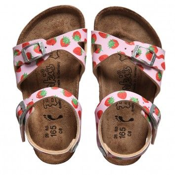 Birkenstock Girls Pink Strawberry Print Sandals (Tavalu) at Childrensalon.com