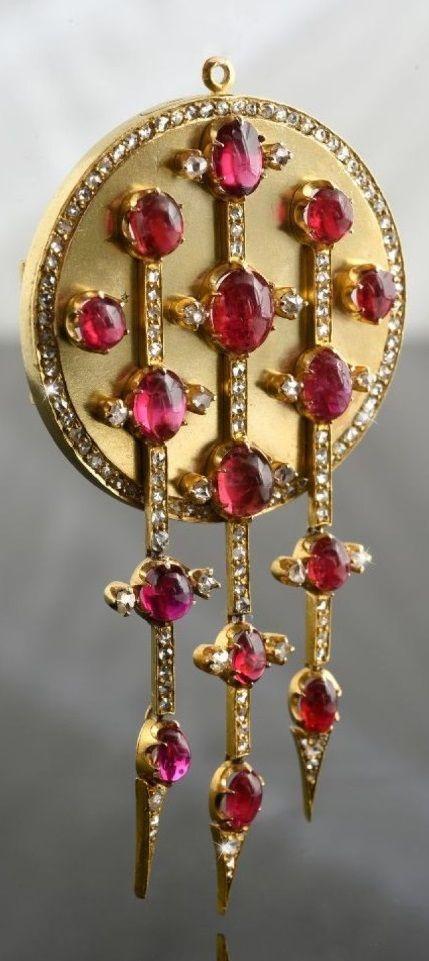 Samuel Arndt (active 1845-90) - A rare antique gold, diamond and gem set brooch / pendant, St. Petersburg, circa 1880. Engraved with inventory number. 8 x 4cm. #SamuelArndt #antique #brooch #pendant