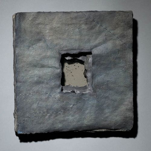 Claudia Lee ~ Shining Path 2 (handmade paper of Belgian flax, mica, graphite, hand-stitched linen thread)