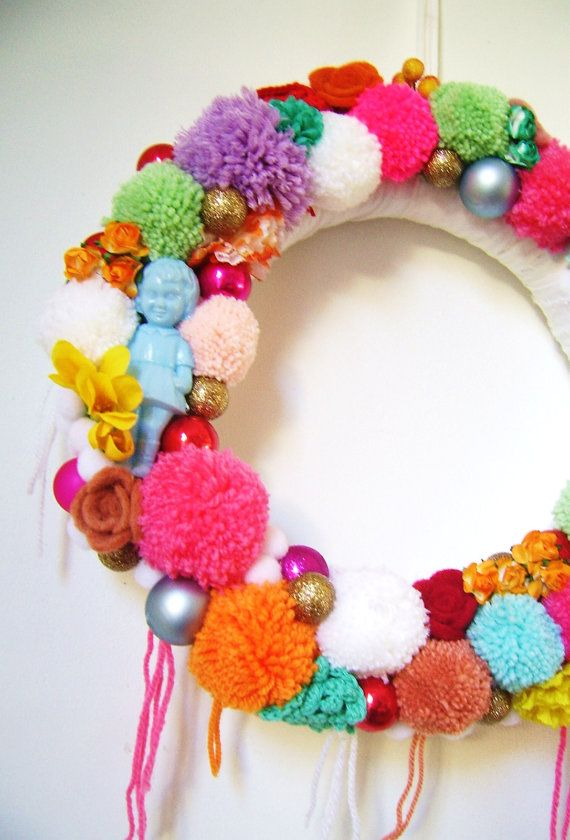 Candy coloured Christmas wreath by SillyOldSuitcase on Etsy