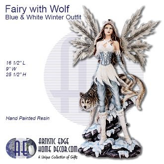 Fairy with Wolf in Blue & White Winter Wolf Outfit