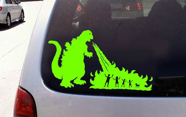 Godzilla vs stick figure family window sticker decal ebay